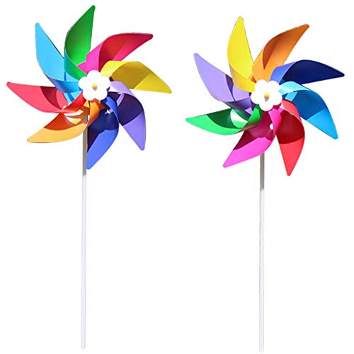 (DDlong Plastic Colorful Windmill Wind Spinner Kids Toy Lawn Garden Yard Party Decor Outdoor Handmade)