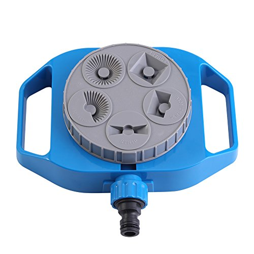 Yosoo 5-Pattern Turret Sprinkler Plastic Garden Spray Nozzle Plants Flowers Watering Sprinkler Multifunctional Lawn Irrigation System