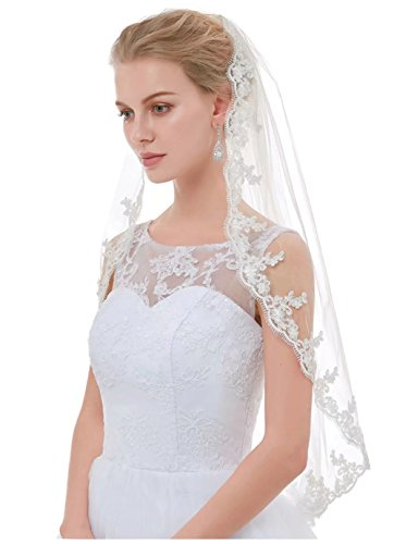 - AIBIYI Lace Edge 1 Tier Short Bridal Veil with Comb ABY-V20