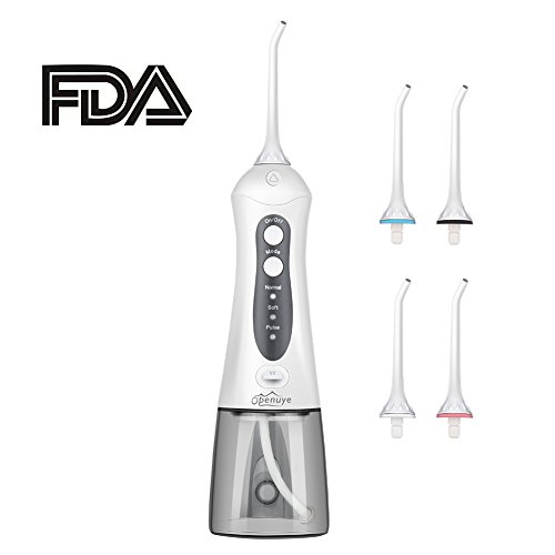 Price comparison product image Openuye Water flosser, Cordless Water flosser,Oral Irrigator,3-Mode USB Rechargeable Water Dental Flosser,IPX7 Waterproof High Frequency Pulsed Water Column Flosser with 4 Jet Tips