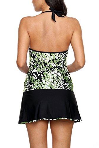 New olive bianco macchie, collo a V, con allacciatura dietro al collo 2PCS Tankini set bikini bikini Swimwear estivo, taglia UK 10EU 38