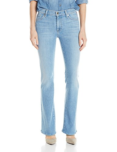 7 For All Mankind Women's Petite Size Tailor Less Boot Cut Jean, Palisades Blue, 27 by 7 For All Mankind