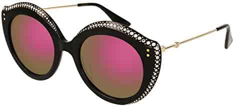 8a3c90ceae GUCCI CRYSTAL LIPS 0214 Cat Eye Black Green Pink Mirrored Stud Sunglasses  GG0214S