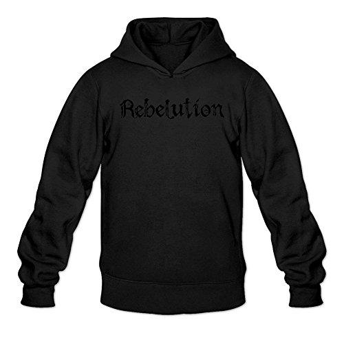 TYMLLER Men's Rebelution Logo Hoodied Sweatshirt Size XXL Black