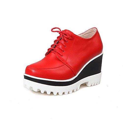 Amoonyfashion Dames Ronde Dichte Neus Hoge Hakken Stevige Rits Pumps-schoenen Rood