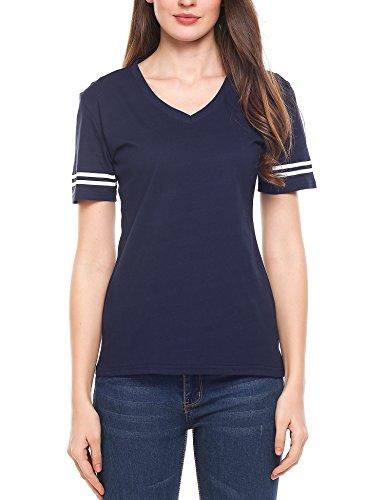 Beyove Women Football Jersey V-Neck Tee Short Sleeve T-Shirt Navy Blue ()