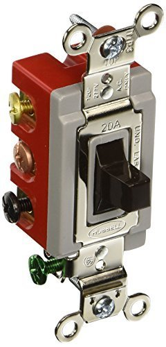 Hubbell HBL1386 Toggle, Double Pole Double Throw, Center Off, 20 amp, 120/277V, Brown