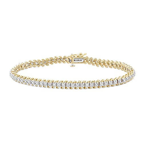 1 CTTW White Diamonds Tennis Bracelet in 10KT Gold (I-J, I1-I2) by Hdiamonds