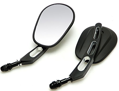 Hoosier Garage - Black Motorcycle Mirrors - Billet Stem - Harley Davidson FLHX Street Glide FLHT Electra Glide - FAST PRIORITY MAIL SHIPPING Asian Manufacturer