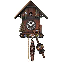 River City Clocks Quarter Call Cuckoo Clock Cottage with Hand Painted Flowers