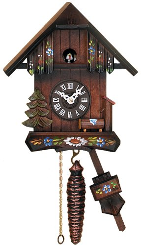 River City Clocks Quarter Call Cuckoo Clock Cottage with Hand Painted Flowers by River City Clocks