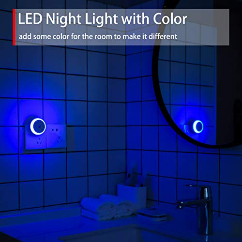 Blue Night Light Plug in, Plug-in Nightlight with Dusk to Dawn Sensor, Automatic On and Off, Energy Efficient, Soft Glow, 2 Pack