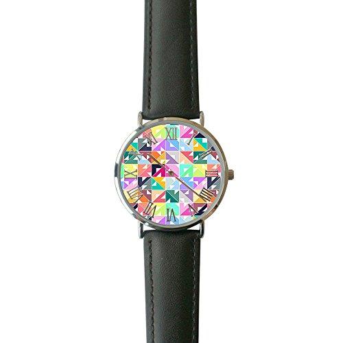 SINGDADFF Women's Geo Triangle Casual Watch Fashion Leather Analog Wrist Watches ()