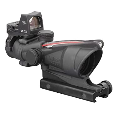 Trijicon TA31F-RMR ACOG 4x32 Scope, Dual Illuminated Red Chevron .223 Ballistic Reticle, 3.25 MOA RMR Sight