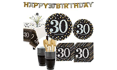 - Party City Sparkling Celebration 30th Birthday Party Kit for 16 Guests, 136 Pieces, Includes Tableware and Decorations
