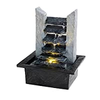 Slate Ripple Effect Water Fall Indoor Tabletop Water Feature with Light