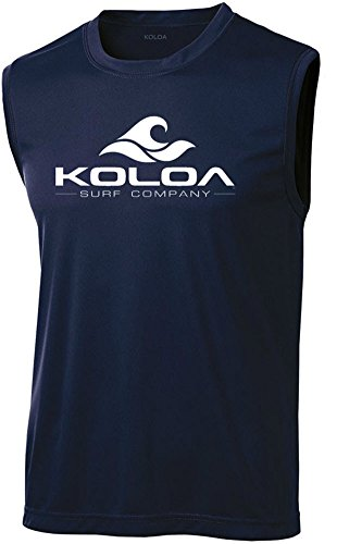 Koloa Surf Wave Logo Moisture Wicking Sleeveless T-Shirt-Navy/white-2XL
