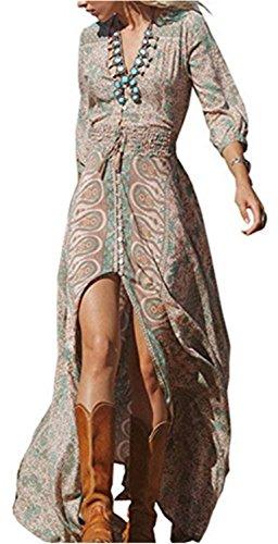 YOGLY Mujer Vestidos Puntas Abiertas con Cuello en V de Impresa Vestido Suelto Tallas Grandes