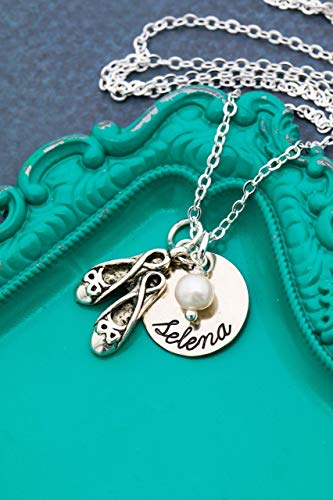 (Personalized Ballet Necklace - DII AAA - Recital Rehearsal Ballerina Performance Gift - Handstamped Jewelry - 5/8 Inch 15MM Silver Disc - Custom Nameplate Chain Length)