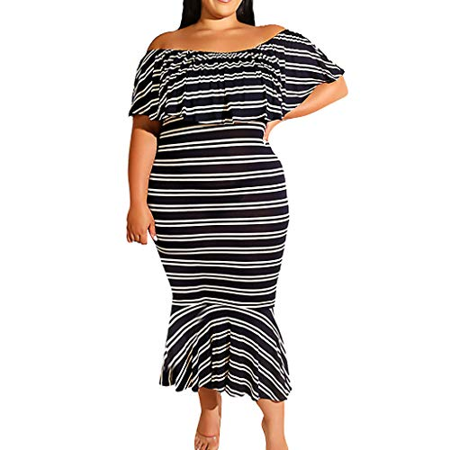 YKARITIANNA Fashion Women Plus Size Sexy Stripe Print Off Shoulder Ruffles Easy Loose Dress ()