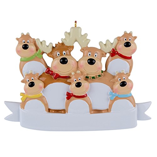 WorldWide Reindeer Family of 7 Ornament Christmas (Reindeer Family Christmas Ornament)