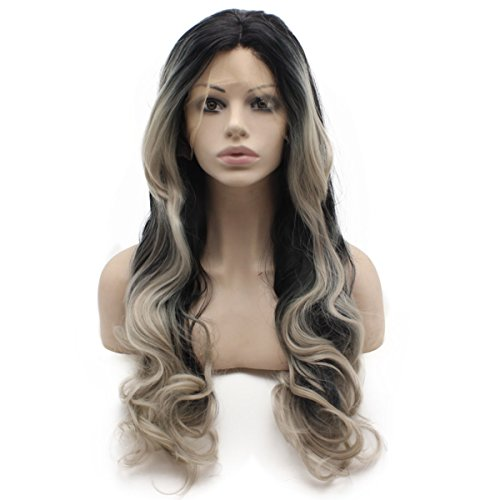 Iewig Long Wavy Swiss Synthetic Front Lace Heat Resistant Ombre Gray Tip Black Wig