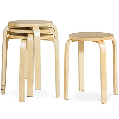 COSTWAY 17-inch Bentwood Stools Backless Chairs Round Top Stackable Wood seat for Dinning, Kitchen, Home, Garden, Living and Class Room(Set of 4, Natural) from COSTWAY