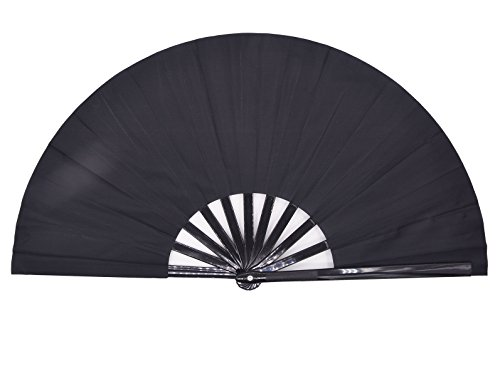 Amajiji Large Folding Fan, Chinease/Japanese Folding Nylon-Cloth Hand Fan, Women Hand Folding Fans Hand Fan Gift fan Craft fan Folding Fan Dance Fan (Black)]()