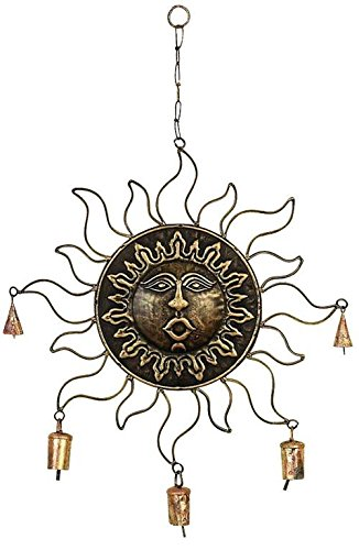 Deco 79 26540 Metal Decorative Sunface Wind Chime, 25-Inch
