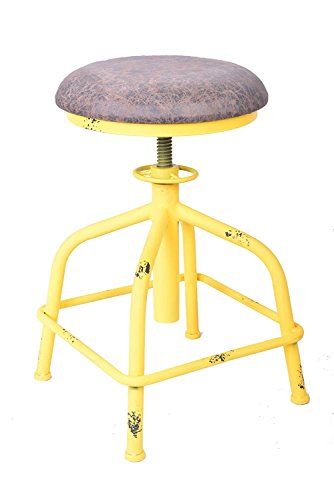 Topower American Antique Industrial Design Leather Bar Stool Round Seat Adjustable Swivel Bar Stools in Exterior House Design (Yellow, PU) Review