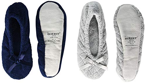 isotoner Women's 2 Pack Ballerina Slipper Quilted and Solid Ballet Flat