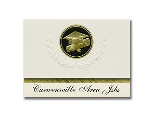 Signature Announcements Curwensville Area Jshs (Curwensville, PA) Graduation Announcements, Presidential style, Elite package of 25 Cap & Diploma Seal Black & Gold