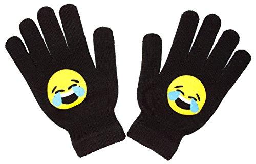 Knit Stretch Black Magic Emoji Face Gloves, Kids Emoji Character Winter Gloves (Laughing Face) Mix & Match