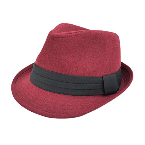 Unisex Classic Solid Color Fedora Hat with Black Band, Burgundy (Red And Black Fedora Hat)