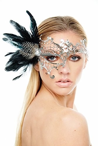 Coquettish Silver Masquerade Mask with Black Feathers and Clear Rhinestones (Unisex One (Black Feather Masquerade Masks)