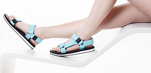Verano sandalias planas los estudiantes coreanos/Un peep toe zapatos Azul