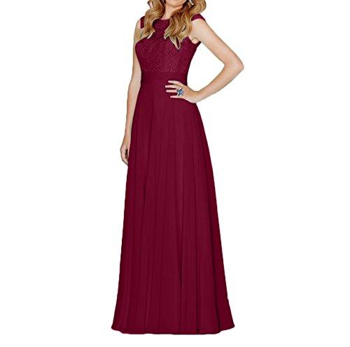 Charmant Aermellos Elegant Spitze Partykleider Abendkleider Burgundy Brautmutterkleider Damen Festlichkleider Lang rtrHwv