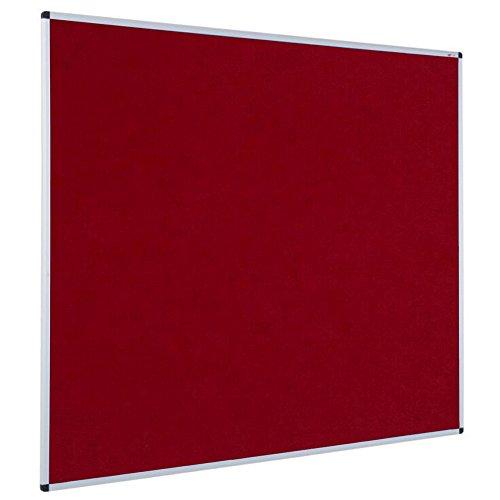 VIZ-PRO Notice Board Felt Burgundy, 36 X 24 Inches, Silver Aluminium Frame