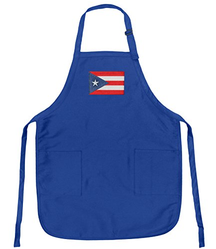 Broad Bay Puerto Rico Flag Aprons w/Pockets & Adjustable Neck, Stain Release -