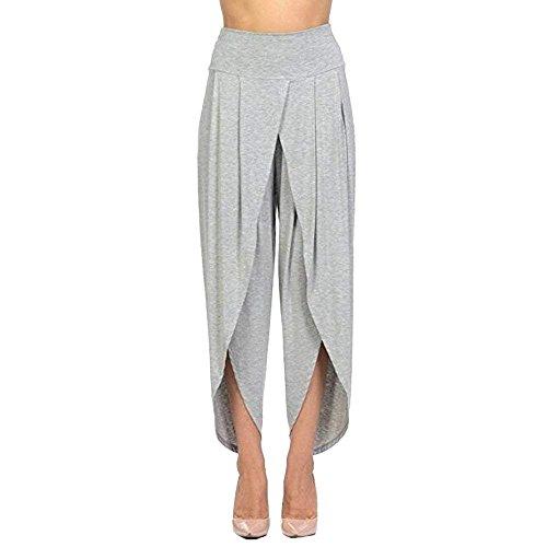 Fashion Especial Asimetricos Cómodo Pantalon Pantalones Irregular Anchas  Elegantes Clásico Verano Tiempo Damas Unicolor Ligero Mujeres Libre ... 312ffaad378d