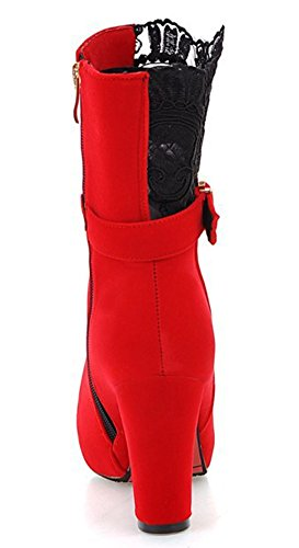 IDIFU Womens Sexy Lace Spliced Platform High Block Heels Side Zip Up Short Ankle Booties Red lQwiPhs