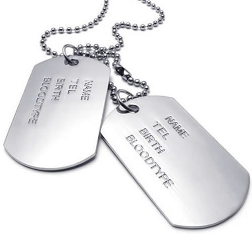 Military Dog Tag Style - KONOV Army Style 2pcs Dog Tag Pendant Mens Necklace Chain, Silver
