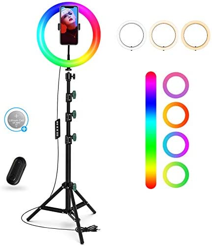 "10"" RGB Ring Light with Stand/Phone Holder, Dimmable Selfie Ring Light with 21 Colors and Bluetooth Remote for Makeup/Live Stream/YouTube Video/Tiktok/Photography, Compatible with iOS/Android Phones"