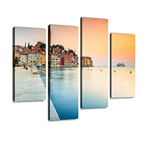 (Stunning Sunset with Rovinj Old Town,Istria Region,Croatia,Europe Canvas Wall Art Hanging Paintings Modern Artwork Abstract Picture Prints Home Decoration Gift Unique Designed Framed 4 Panel)