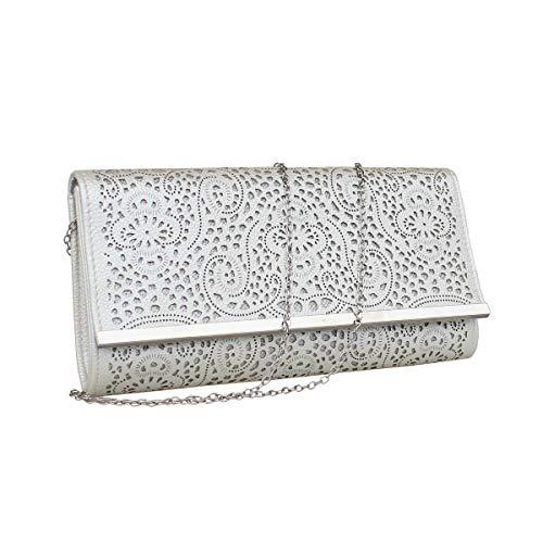 Womens Faux Leather Envelope Clutch Bag Evening Handbag Shouder Bag Wristlet Purse With Chain Strap. ()