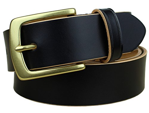 Bullko Men's Classic Brass Buckle Leather Dress Belt Black Size 32-34inch