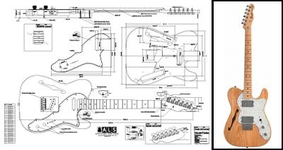 Plan of Fender Telecaster Thinline Electric Guitar – Full Scale Print