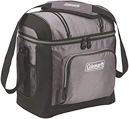 Mildew Resistant Gray 16-Can Soft-Sided Cooler with Liner and Shoulder Strap