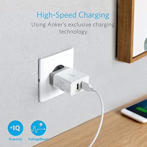 Anker, caricabatterie USB da 24W, con 2porte, con tecnologia PowerIQ, caricabatterie da viaggio per iPhone, iPad, Samsung Galaxy, Note, Nexus, HTC, Motorola, LG, Xiaomi e altri