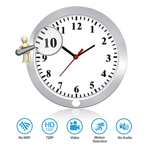 Newwings Hidden Camera Wall Clock Spy Camera Nanny Cam with PIR Motion Detection, Indoor Covert Security Spy Camera for Home and Office, No WiFi Function